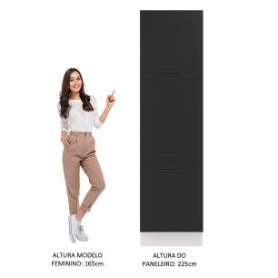 Paneleiro Madesa Agata 60 cm 3 Portas - Branco/Preto