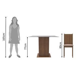 Conjunto Sala de Jantar Madesa Mila Mesa Tampo de Vidro com 2 Cadeiras