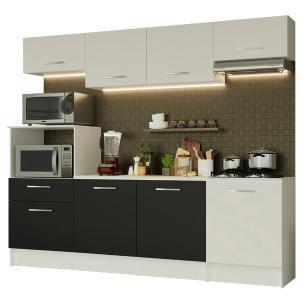 Cozinha Completa Madesa Onix 240003 com Armário e Balcão - Branco/Preto 0973