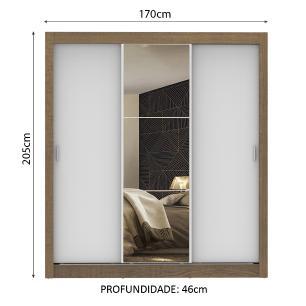 Guarda Roupa Casal Madesa Mônaco 3 Portas de Correr com Espelho