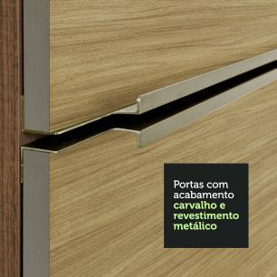 Armário Aéreo Madesa Lux 120 cm 2 Portas - Rustic/Carvalho