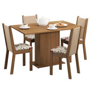 Conjunto Sala de Jantar Madesa Talita Mesa Tampo de Madeira com 4 Cadeiras - Rustic/Crema/Hibiscos