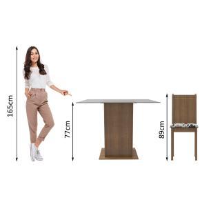 Conjunto Sala de Jantar Madesa Magda Mesa Tampo de Vidro com 4 Cadeiras - Rustic/Hibiscos