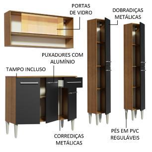 Cozinha Compacta Madesa Emilly Winter com Armário Vidro Reflex e Balcão - Rustic/Preto