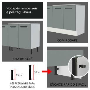 Cozinha Completa Madesa Agata 310001 com Armário e Balcão (Sem Tampo e Pia) - Branco/Cinza
