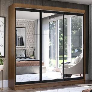 Guarda-Roupa Casal Madesa Istambul 3 Portas de Correr de Espelho 3 Gavetas - Rustic/Preto