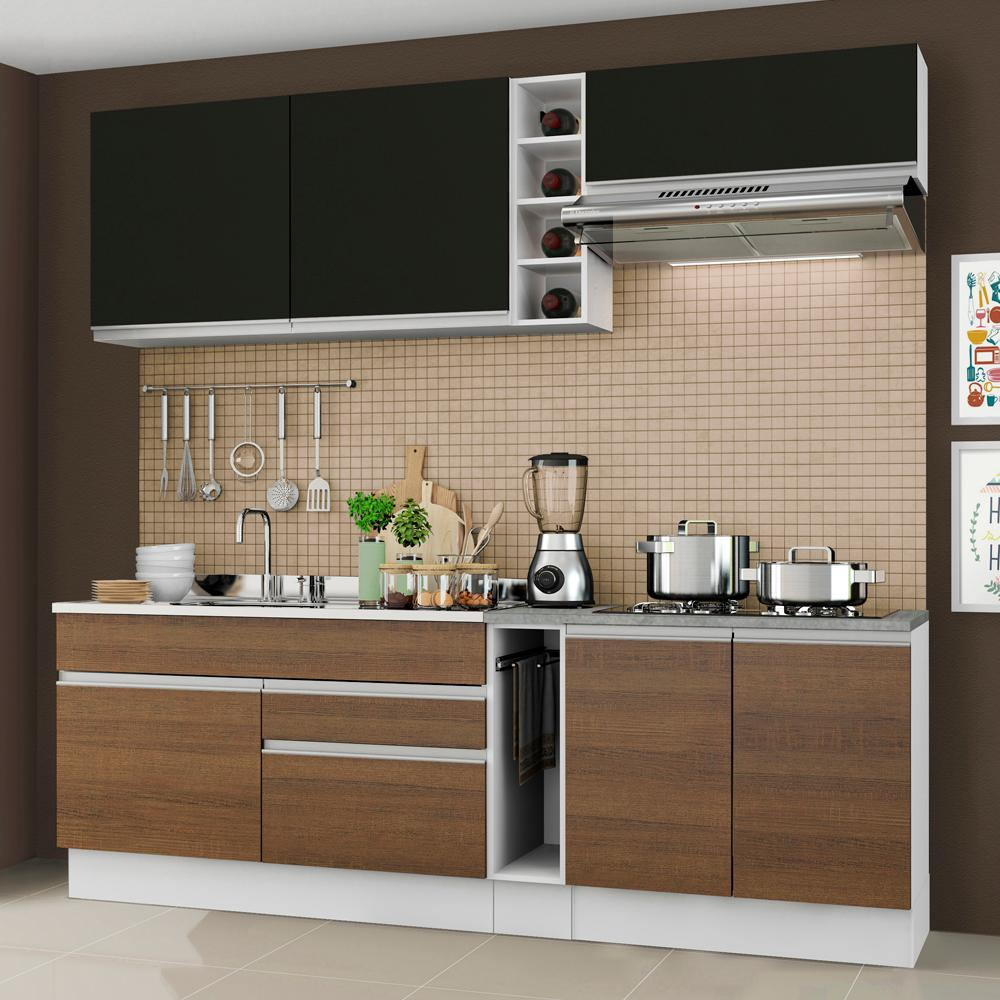 Cozinha Completa Madesa Parma com Armário e Balcão (Sem tampo e Pia)