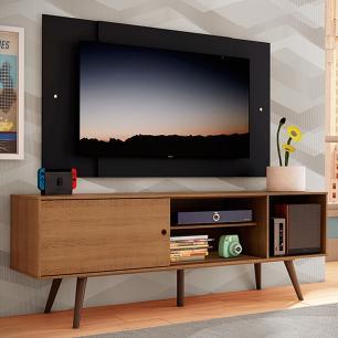 Rack Madesa Cairo e Painel para TV até 58 Polegadas com Pés de Madeira - Rustic/Preto 5ZD8