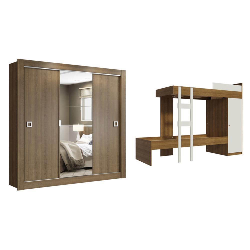 Kit Madesa Guarda-Roupa Infantil City 3 Portas de Correr com Espelho + Beliche Larissa