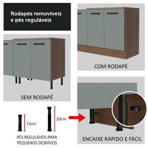 Balcão de Pia Madesa Agata 2 Portas e 3 Gavetas - Rustic/Cinza