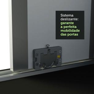 Guarda Roupa Casal 100% MDF Madesa Zurique 3 Portas de Correr com Espelho - Preto