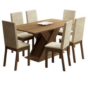 Conjunto Sala de Jantar Madesa Júlia Mesa Tampo de Madeira com 6 Cadeiras