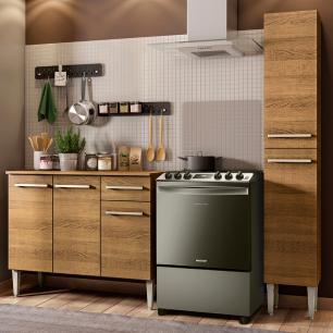 Cozinha Compacta Madesa Emilly Silver com Balcão e Paneleiro