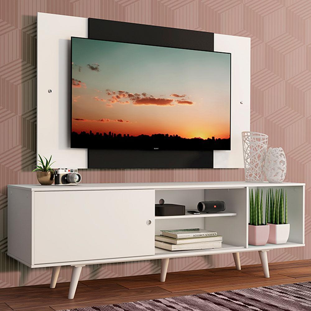 Rack Madesa Dubai com Pés e Painel para TV até 58 Polegadas - Branco/Preto 09C7