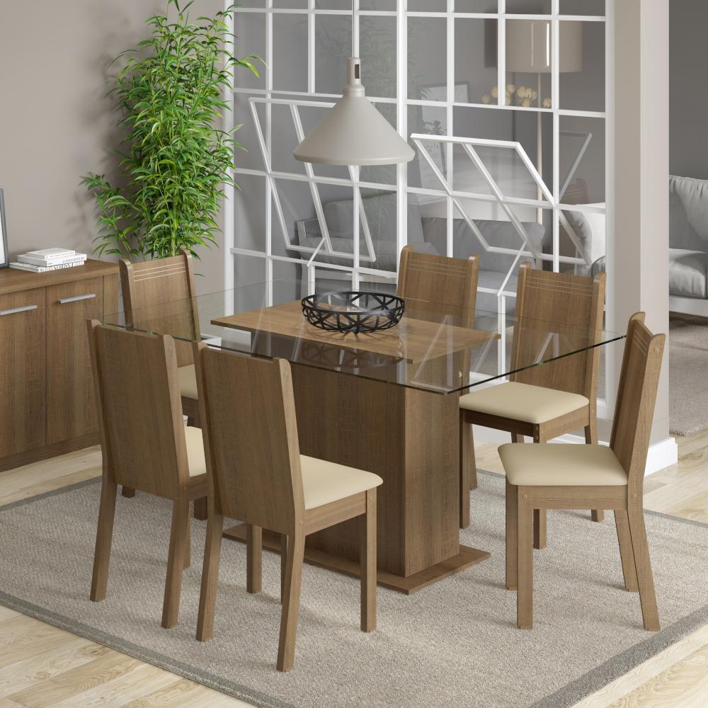 Conjunto Sala de Jantar Madesa Molly Mesa Tampo de Vidro com 6 Cadeiras