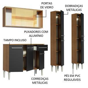 Cozinha Completa Madesa Emilly Voice com Armário Vidro Reflex, Balcão e Paneleiros - Rustic/Preto