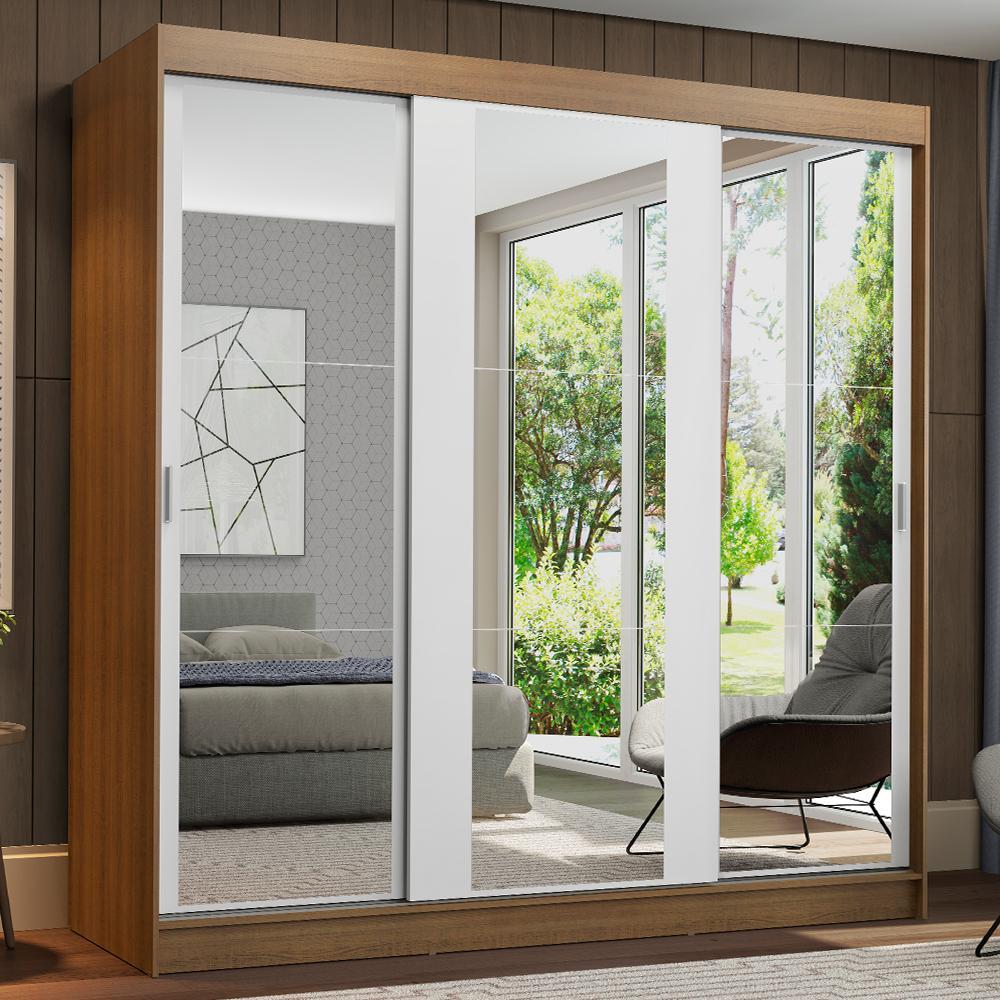 Guarda-Roupa Casal Madesa Reno 3 Portas de Correr de Espelho - Rustic/Branco