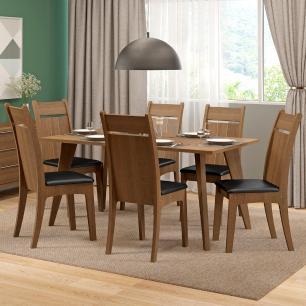 Conjunto Sala de Jantar Madesa Elise Mesa Tampo de Madeira com 6 Cadeiras
