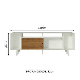 Rack para TV até 65 Polegadas Madesa Cancun com Pés - Branco/Branco/Rustic