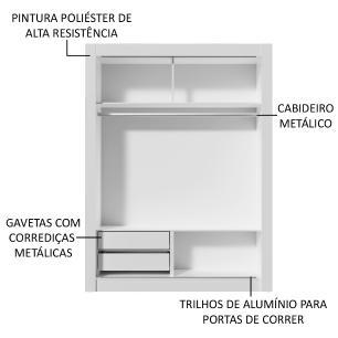 Kit Madesa Guarda-Roupa Infantil Dallas com 2 Portas de Correr com Espelho + Beliche Larissa