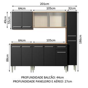 Cozinha Completa Madesa Emilly Fast com Balcão, Armário Vidro e Paneleiro - Rustic/Preto