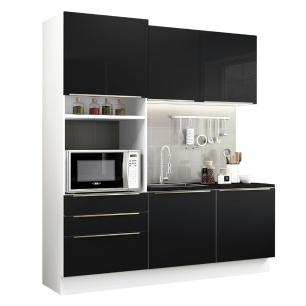 Cozinha Compacta Madesa Lux com Armário e Balcão 5 Portas 3 Gavetas - Branco/Preto
