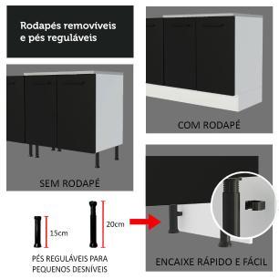 Balcão de Pia Madesa Agata 2 Portas e 3 Gavetas - Branco/Preto