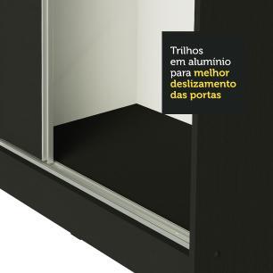 Guarda Roupa Casal 100% MDF Madesa Zurique 3 Portas de Correr - Preto/Rustic/Preto