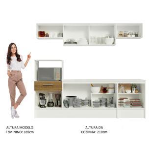 Cozinha Completa Madesa Onix 240001 com Armário e Balcão - Branco/Rustic