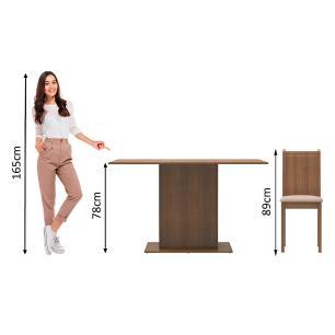 Conjunto Sala de Jantar Celeny Madesa Mesa Tampo de Madeira com 6 Cadeiras - Rustic/Pérola