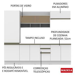 Cozinha Completa Madesa Glamy New Com Armário, Balcão e Tampo