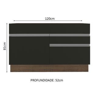Balcão de Pia Madesa Glamy 120 cm 1 Porta 2 Gavetas - Rustic/Preto