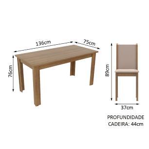 Conjunto Sala de Jantar Madesa Miriam Mesa Tampo de Madeira com 6 Cadeiras - Rustic/Crema/Pérola