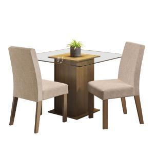 Conjunto Sala de Jantar Madesa Lisi Mesa Tampo de Vidro com 2 Cadeiras - Rustic/Imperial