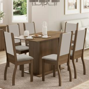 Conjunto Sala de Jantar Greice Madesa Mesa Tampo de Madeira com 6 Cadeiras