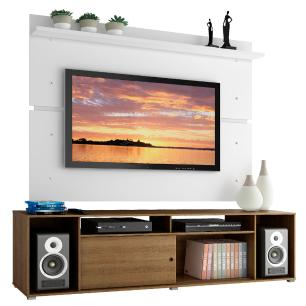 Rack Madesa Cancun e Painel para TV até 65 Polegadas - Rustic/Branco