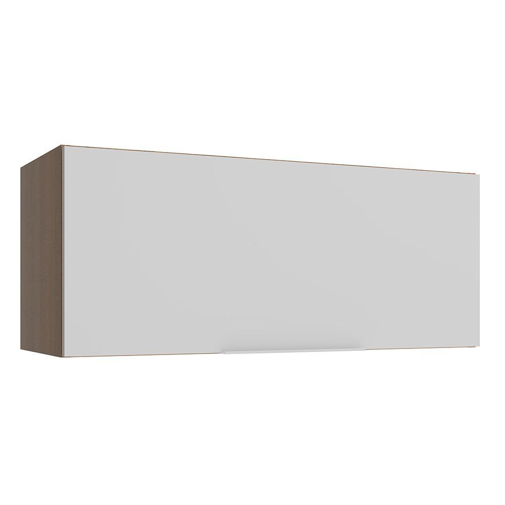 Armário Aéreo Madesa Stella 80 cm 1 Porta Basculante - Rustic/Branco
