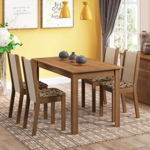 Conjunto Sala de Jantar Madesa Bea Mesa Tampo de Madeira com 4 Cadeiras