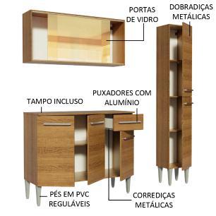 Cozinha Compacta Madesa Emilly Gold com Armário, Balcão e Paneleiro