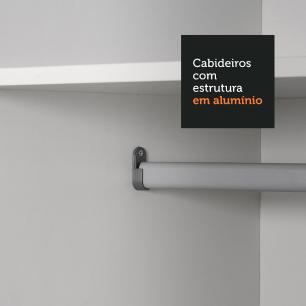 Guarda-Roupa Casal Madesa Austin 4 Portas de Correr com Espelhos 3 Gavetas - Preto/Branco