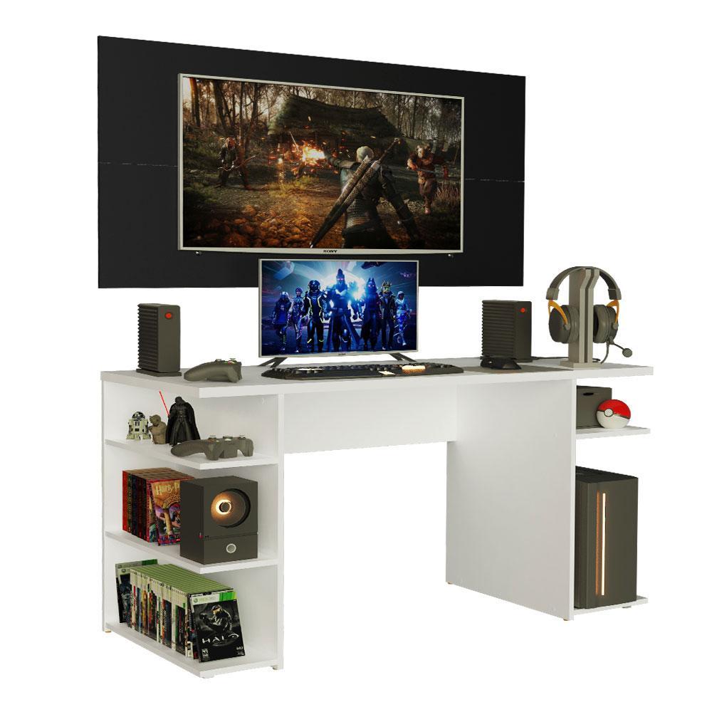 Mesa Gamer Madesa 9409 e Painel para TV até 50 Polegadas - Branco/Preto
