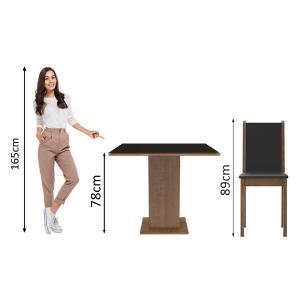 Conjunto Sala de Jantar Madesa Moscou Plus Mesa Tampo de Vidro com 4 Cadeiras - Rustic/Preto/Sintético Preto