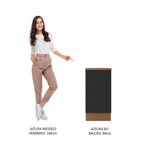 Balcão Madesa Agata 40 cm 1 Porta - Rustic/Preto