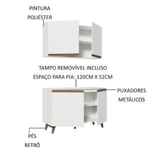 Kit Madesa Reims 120 cm com Armário Aéreo e Balcão Gabinete de Pia - Branco