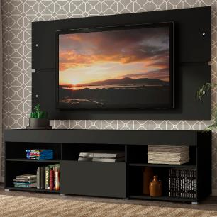 Rack com Painel para TV até 65 Polegadas Madesa Havaí 1 Porta - Preto