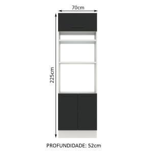 Torre Quente Madesa Agata 70 cm 3 Portas - Branco/Preto