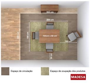 Conjunto Sala de Jantar Isabel Madesa Mesa Tampo de Madeira com 4 Cadeiras