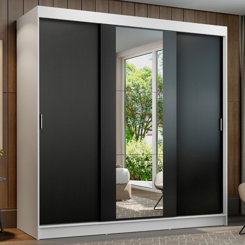 Guarda-Roupa Casal Madesa Reno 3 Portas de Correr com Espelho - Branco/Preto