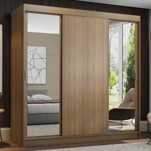 Guarda-Roupa Casal Madesa Reno 3 Portas de Correr com Espelhos - Rustic