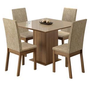 Conjunto Sala de Jantar Madesa Moscou Mesa Tampo de Vidro com 4 Cadeiras